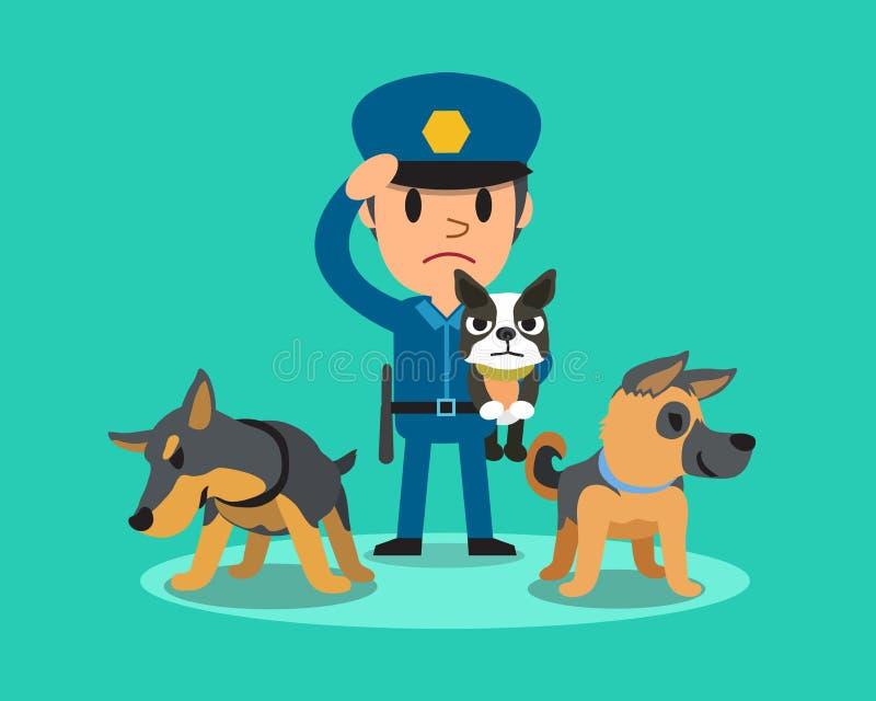 Αστυνομικός φρουράς ασφάλειας κινούμενων σχεδίων με τα σκυλιά φρουράς αστυνομίας απεικόνιση αποθεμάτων