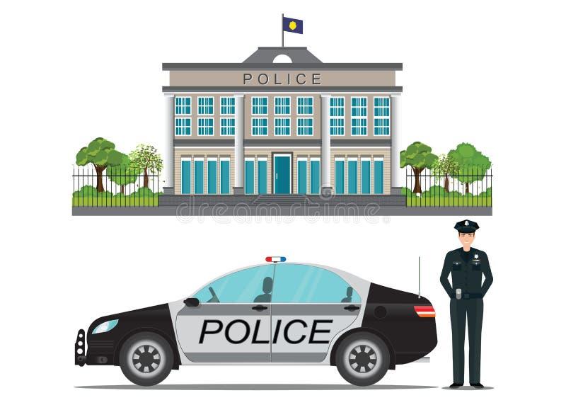 Αστυνομικό τμήμα με τον αστυνομικό και το περιπολικό της Αστυνομίας διανυσματική απεικόνιση