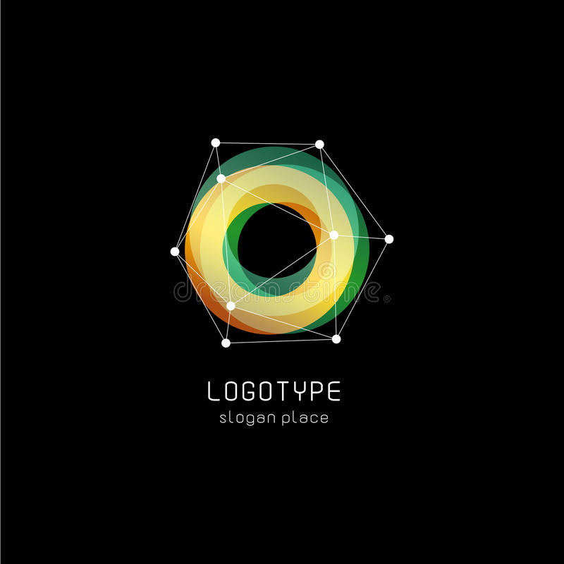 Ασυνήθιστο αφηρημένο γεωμετρικό διανυσματικό λογότυπο μορφών Κυκλικά, polygonal ζωηρόχρωμα logotypes στο μαύρο υπόβαθρο διανυσματική απεικόνιση