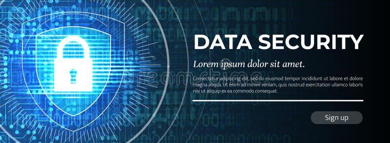 Ασφάλεια δεδομένων Το μπλε ψηφιακό υπόβαθρο r απεικόνιση αποθεμάτων