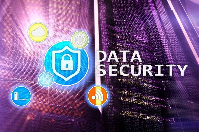 Ασφάλεια δεδομένων, cyber πρόληψη εγκλήματος, ψηφιακή προστασία πληροφοριών Εικονίδια κλειδαριών και υπόβαθρο δωματίων κεντρικών  διανυσματική απεικόνιση