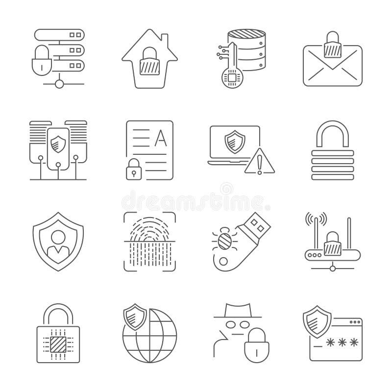 Ασφάλεια Διαδικτύου και ψηφιακά εικονίδια προστασίας που τίθενται στο λεπτό ύφος γραμμών Τεχνολογία της προστασίας στον ψηφιακό κ απεικόνιση αποθεμάτων