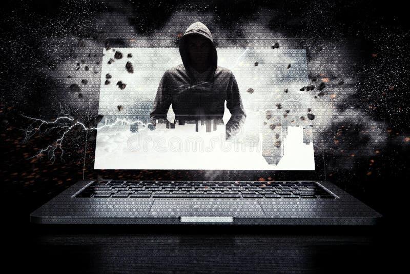 Ασφάλεια δικτύων και έγκλημα υπολογιστών Μικτά μέσα στοκ εικόνες