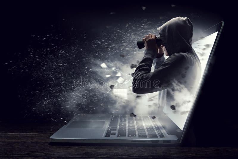 Ασφάλεια δικτύων και έγκλημα υπολογιστών Μικτά μέσα στοκ εικόνα