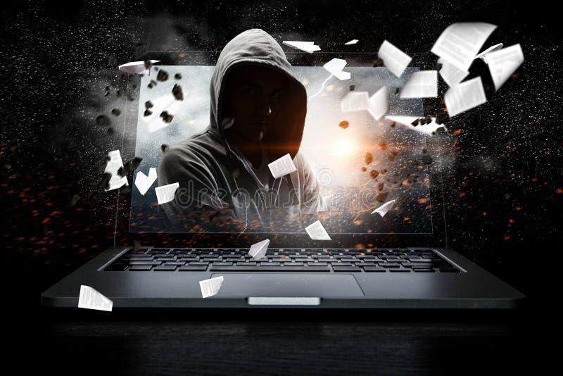 Ασφάλεια δικτύων και έγκλημα υπολογιστών Μικτά μέσα στοκ φωτογραφίες