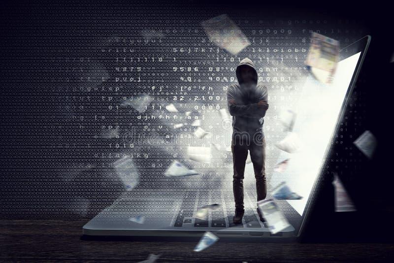 Ασφάλεια δικτύων και έγκλημα υπολογιστών Μικτά μέσα στοκ φωτογραφία