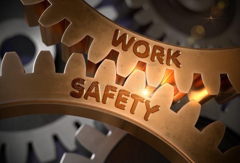 Ασφάλεια εργασίας χρυσά μεταλλικά Cogwheels r απεικόνιση αποθεμάτων