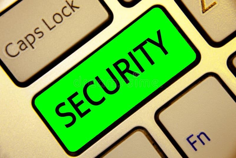Ασφάλεια κειμένων γραψίματος λέξης Επιχειρησιακή έννοια για την κατάσταση να αισθανθεί ασφαλείς σταθερός και απαλλαγμένος από το  στοκ εικόνες με δικαίωμα ελεύθερης χρήσης