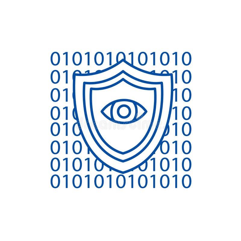 Ασφάλεια λογισμικού, αντι έννοια εικονιδίων γραμμών ιών Ασφάλεια λογισμικού, επίπεδο διανυσματικό σύμβολο αντι ιών, σημάδι, περίλ απεικόνιση αποθεμάτων