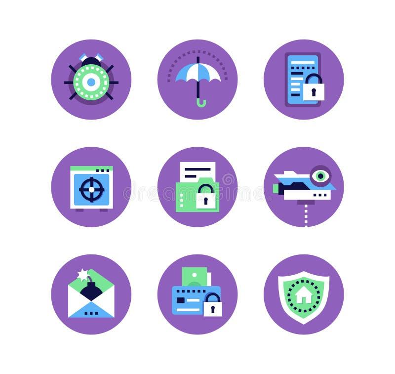 Ασφάλεια πληροφοριών, προστασία δεδομένων - σύνολο επίπεδων εικονιδίων ύφους σχεδίου ελεύθερη απεικόνιση δικαιώματος