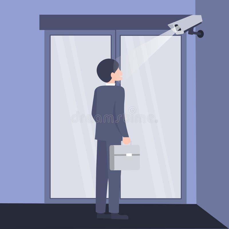 Ασφάλεια προσδιορισμού προσώπου, κάμερα στην εισαγωγή διανυσματική απεικόνιση