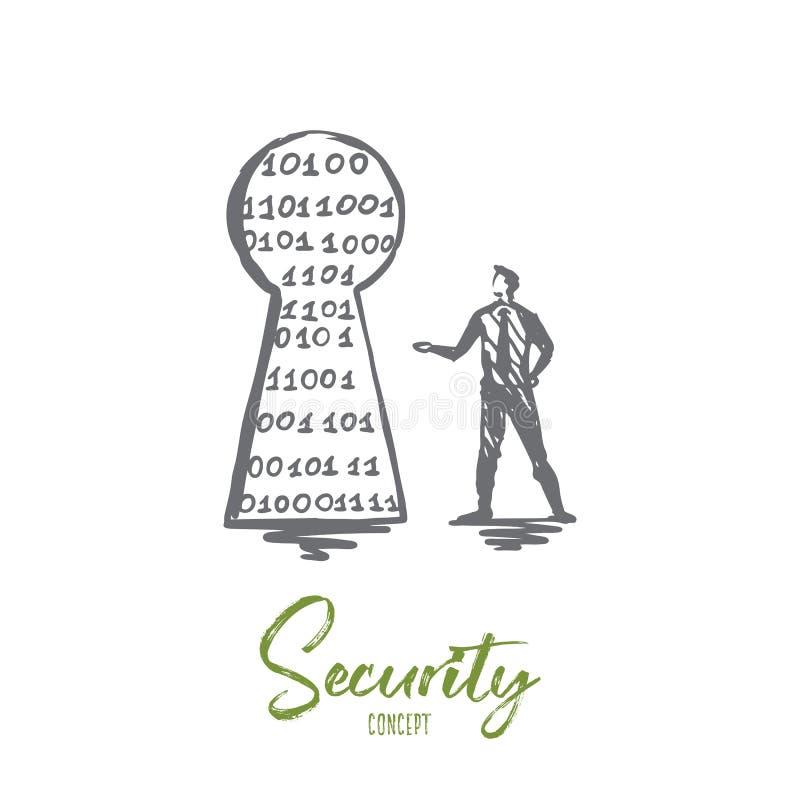 Ασφάλεια, προστασία, ασφαλής, δίκτυο, έννοια ασφάλειας Συρμένο χέρι απομονωμένο διάνυσμα διανυσματική απεικόνιση