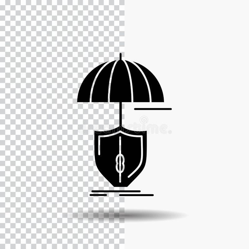 ασφάλεια, προστασία, ασφάλεια, ψηφιακός, εικονίδιο Glyph ασπίδων στο διαφανές υπόβαθρο r απεικόνιση αποθεμάτων