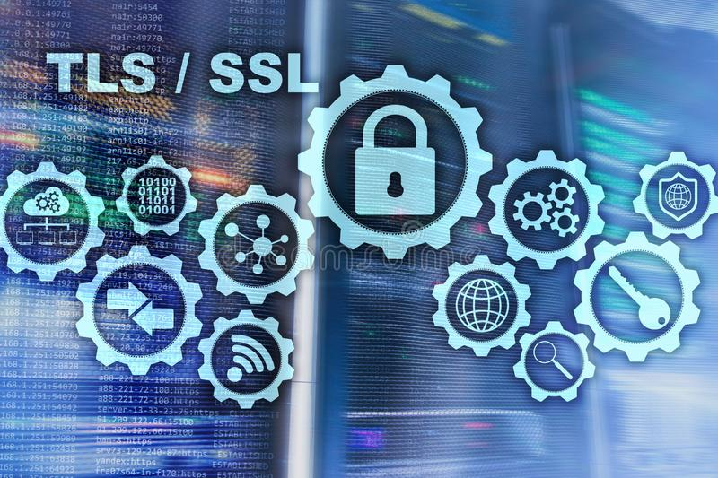 Ασφάλεια στρώματος μεταφορών Εξασφαλίστε το στρώμα υποδοχών SSL TLS Τα ryptographic πρωτόκολλα Ð ¡ παρέχουν τις εξασφαλισμένες επ στοκ εικόνες