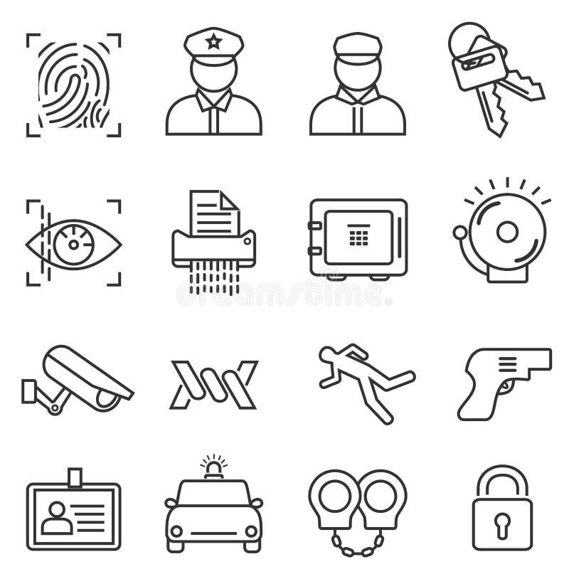 Ασφάλεια, σύνολο εικονιδίων γραμμών ασφάλειας στοκ φωτογραφίες με δικαίωμα ελεύθερης χρήσης