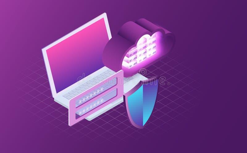 Ασφάλεια υπολογιστών και έννοια προστασίας δεδομένων Ψηφιακή προστασία δεδομένων, μυστικότητα τρισδιάστατο lap-top με την ασπίδα διανυσματική απεικόνιση