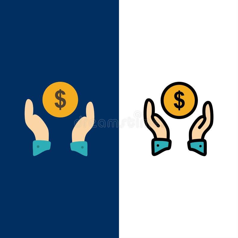 Ασφάλεια, ασφάλεια χρηματοδότησης, χρήματα, εικονίδια προστασίας Επίπεδος και γραμμή γέμισε το καθορισμένο διανυσματικό μπλε υπόβ απεικόνιση αποθεμάτων