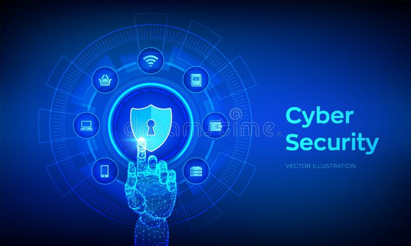 Ασφάλεια Cyber Επιχειρησιακή έννοια προστασίας δεδομένων στην εικονική οθόνη Η ασπίδα προστατεύει το εικονίδιο Ιδιωτικότητα και α απεικόνιση αποθεμάτων