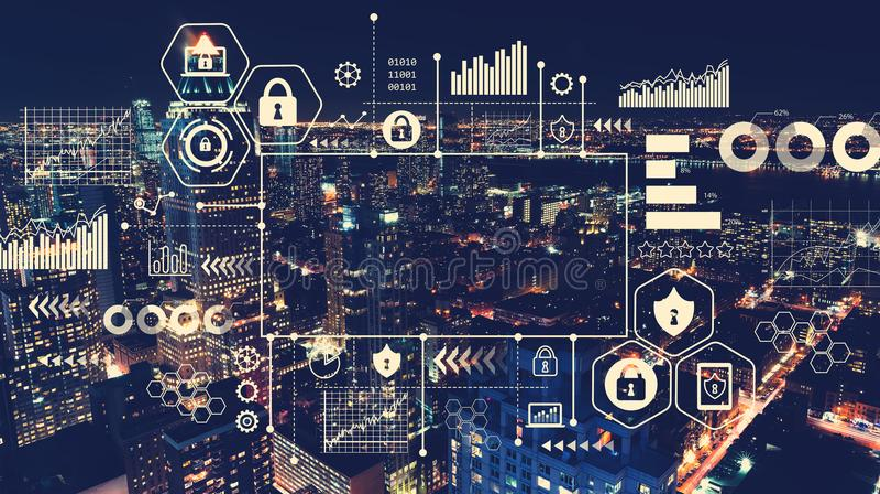Ασφάλεια Cyber με την εναέρια άποψη του Μανχάταν, Νέα Υόρκη απεικόνιση αποθεμάτων