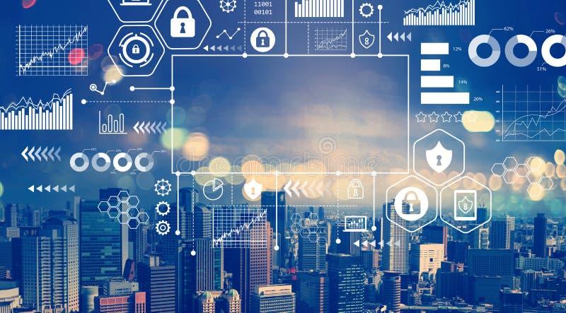 Ασφάλεια Cyber με την εναέρια άποψη των οριζόντων πόλεων διανυσματική απεικόνιση
