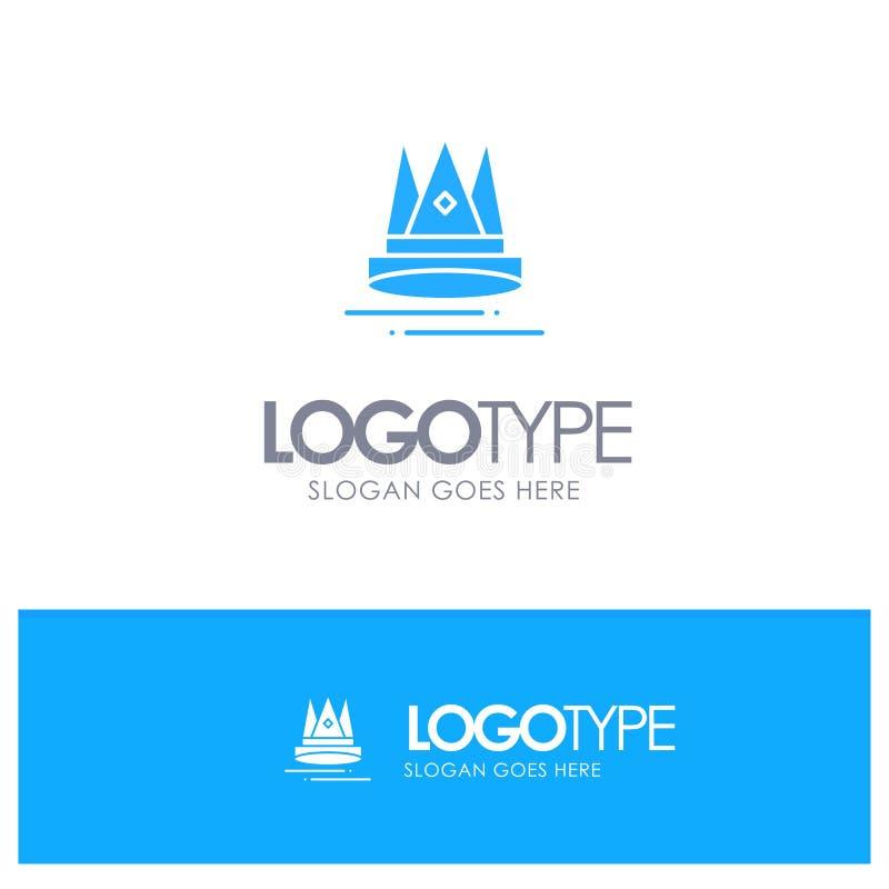 Ασφάλιστρο, περιεχόμενο, εκπαίδευση, μπλε στερεό λογότυπο μάρκετινγκ με τη θέση για το tagline ελεύθερη απεικόνιση δικαιώματος
