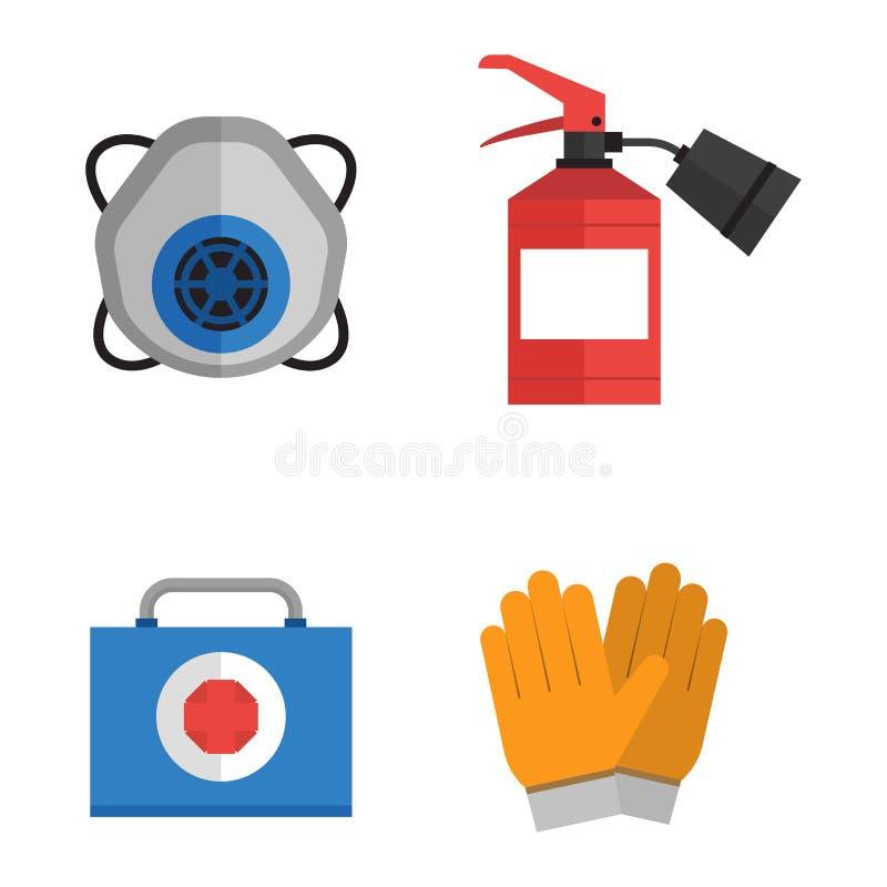 Ασφάλειας επίπεδο ύφος εικονιδίων εργασίας διανυσματικό απεικόνιση αποθεμάτων