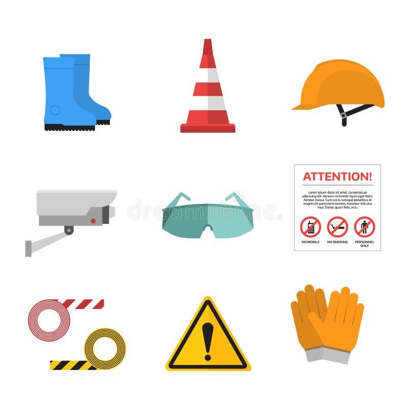 Ασφάλειας επίπεδο ύφος εικονιδίων εργασίας διανυσματικό διανυσματική απεικόνιση