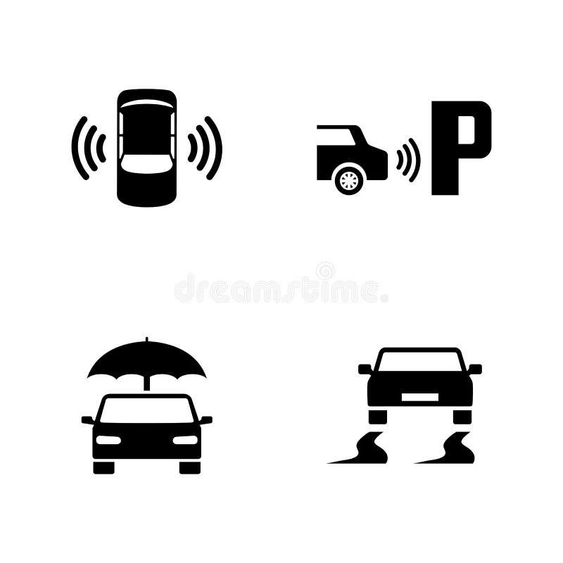 Ασφάλεια αυτοκινήτων Απλά σχετικά διανυσματικά εικονίδια διανυσματική απεικόνιση