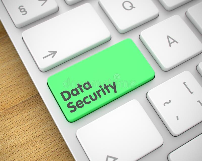 Ασφάλεια δεδομένων - κείμενο στο πράσινο κουμπί πληκτρολογίων τρισδιάστατος διανυσματική απεικόνιση