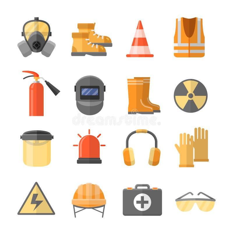 Ασφάλεια στα διανυσματικά εικονίδια εργασίας σε ένα επίπεδο ύφος απεικόνιση αποθεμάτων