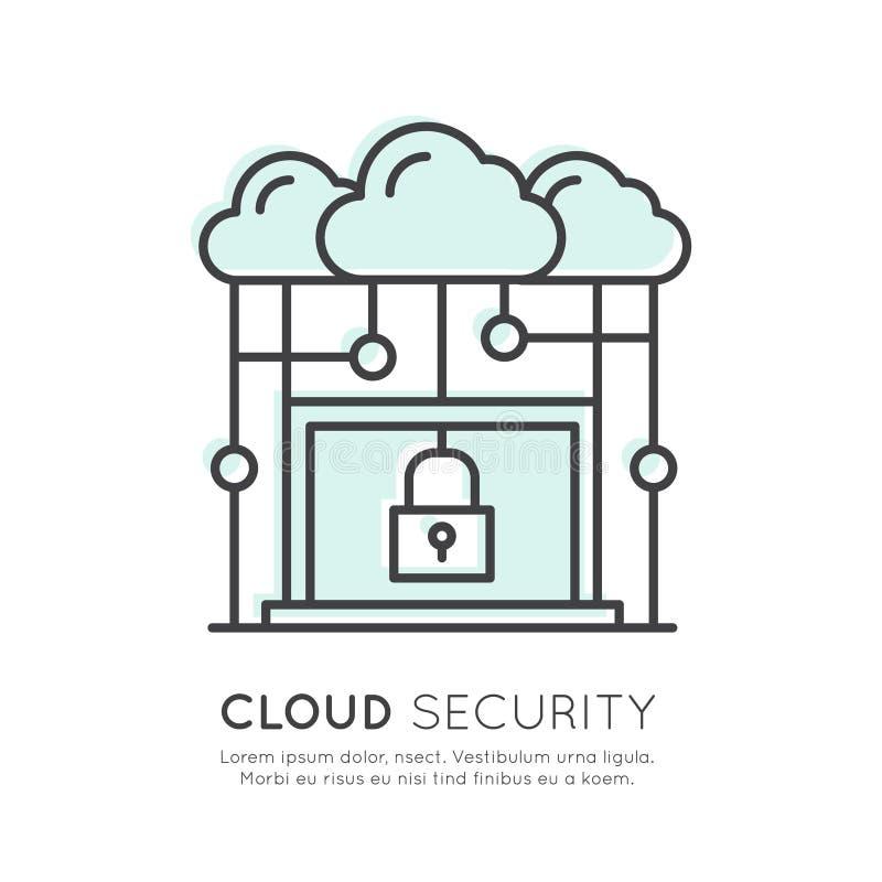 Ασφάλεια τεχνολογίας υπολογισμού σύννεφων απεικόνιση αποθεμάτων
