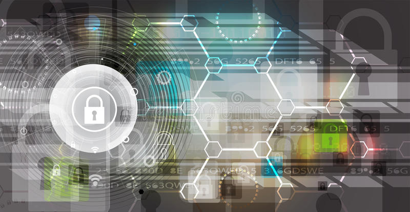 Ασφάλεια Cyber και πληροφορίες ή προστασία δικτύων Μέλλον tec απεικόνιση αποθεμάτων