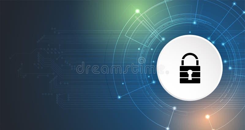 Ασφάλεια Cyber και πληροφορίες ή προστασία δικτύων Μέλλον tec διανυσματική απεικόνιση