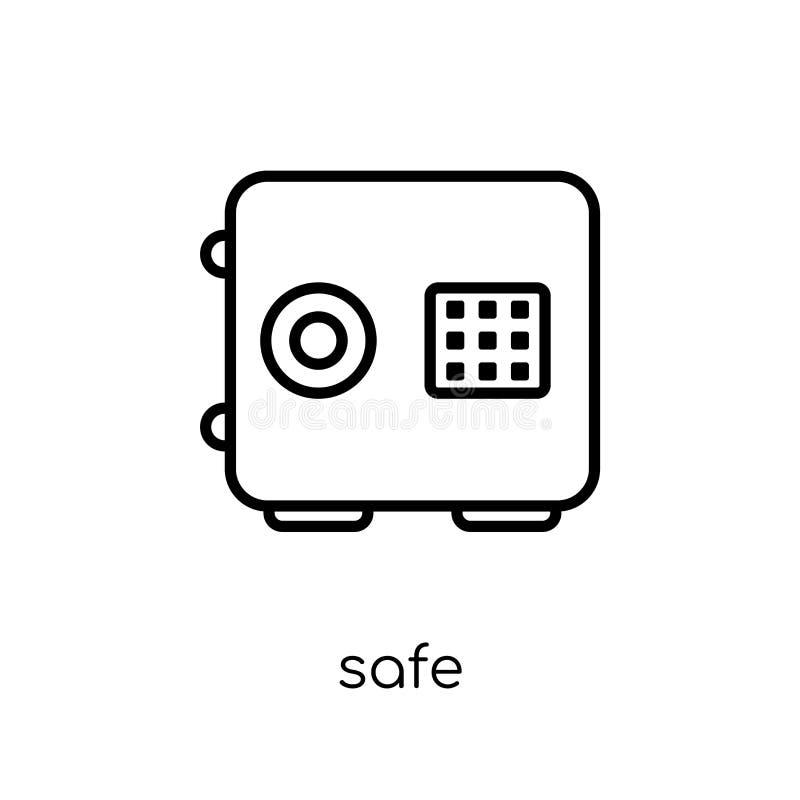 Ασφαλές εικονίδιο Καθιερώνον τη μόδα σύγχρονο επίπεδο γραμμικό διανυσματικό ασφαλές εικονίδιο στο άσπρο β διανυσματική απεικόνιση