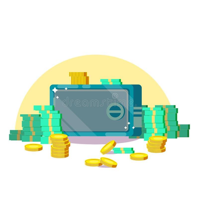 Ασφαλές κιβώτιο με τα τραπεζογραμμάτια νομισμάτων δολαρίων αποταμίευσης χρημάτων Έννοια προστασίας μετρητών E r διανυσματική απεικόνιση