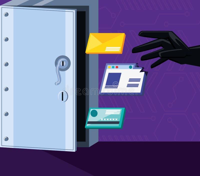 Ασφαλές κιβώτιο με την καθορισμένη ασφάλεια εικονιδίων cyber απεικόνιση αποθεμάτων