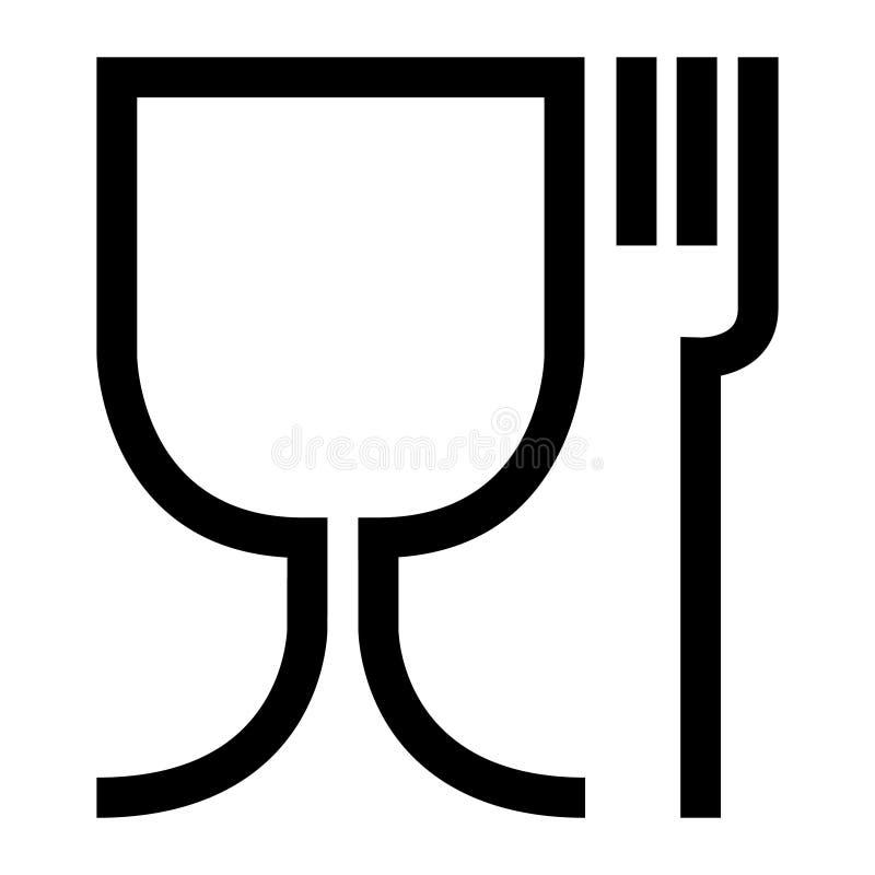 Ασφαλές σύμβολο τροφίμων Το διεθνές εικονίδιο για το ασφαλές υλικό τροφίμων είναι ένα γυαλί κρασιού και ένα σύμβολο δικράνων μεγά απεικόνιση αποθεμάτων