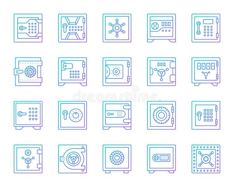 Ασφαλές τραπεζών διανυσματικό σύνολο εικονιδίων γραμμών χρώματος κυττάρων απλό απεικόνιση αποθεμάτων