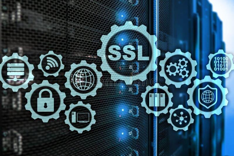 Ασφαλής έννοια στρώματος υποδοχών SSL Τα κρυπτογραφικά πρωτόκολλα παρέχουν τις εξασφαλισμένες επικοινωνίες Υπόβαθρο δωματίων κεντ διανυσματική απεικόνιση