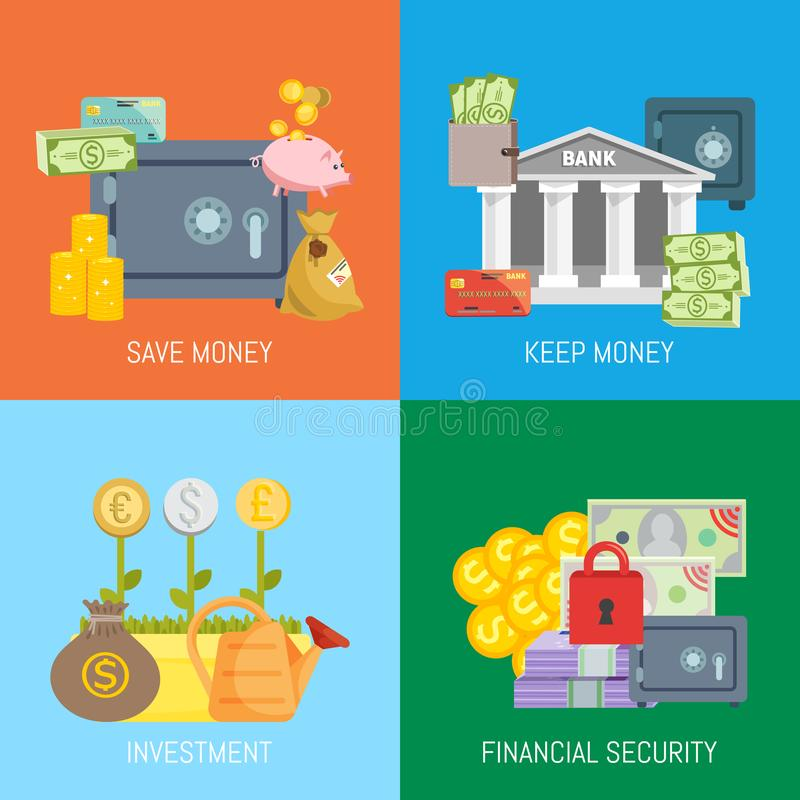 Ασφαλής διανυσματική απεικόνιση εμβλημάτων έννοιας efinance Εκτός από και κρατήστε τα χρήματα, την επένδυση και την οικονομική ασ απεικόνιση αποθεμάτων