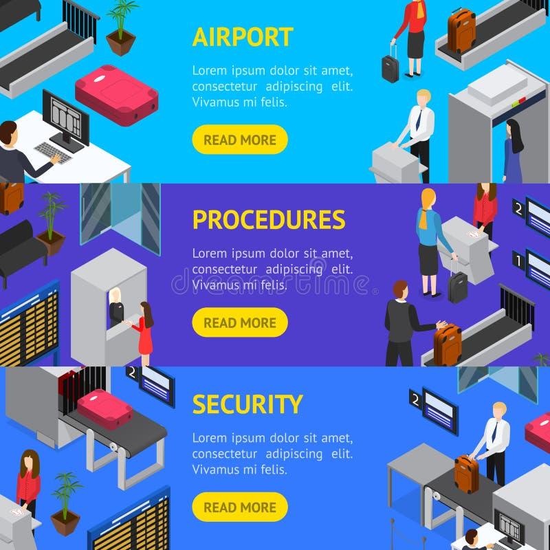 Ασφαλείας αεροδρομίου εισόδου Isometric άποψη συνόλου εμβλημάτων οριζόντια διάνυσμα ελεύθερη απεικόνιση δικαιώματος