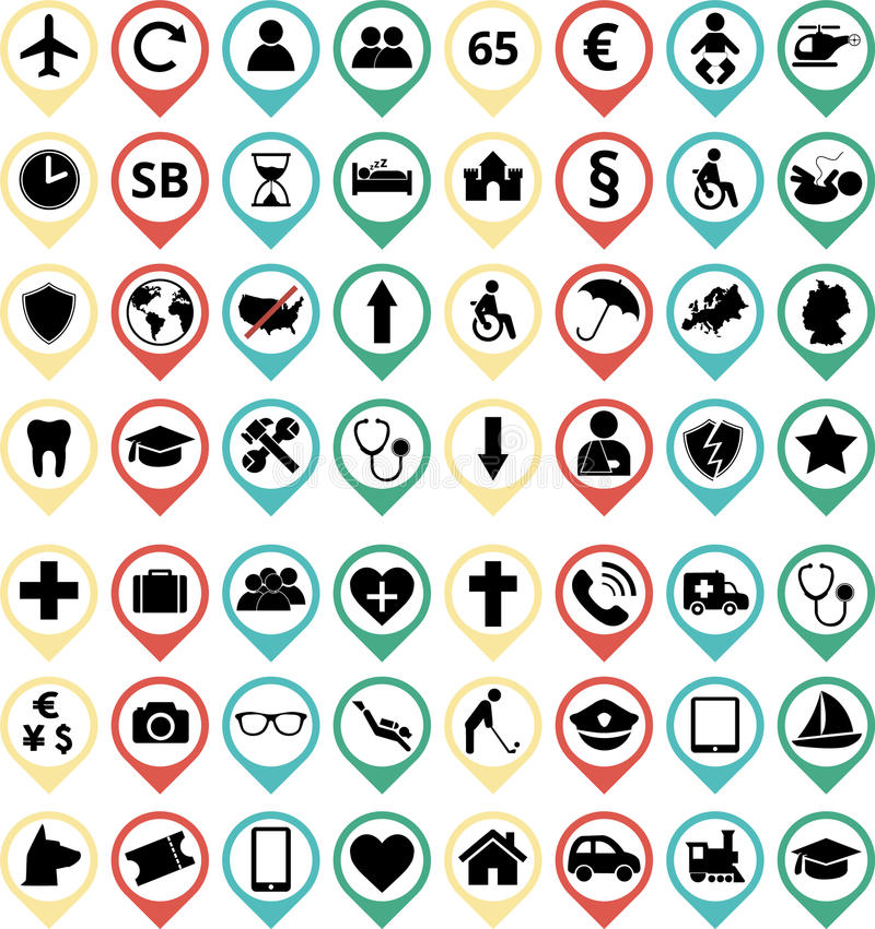 Ασφαλιστικά εικονίδια απεικόνιση αποθεμάτων