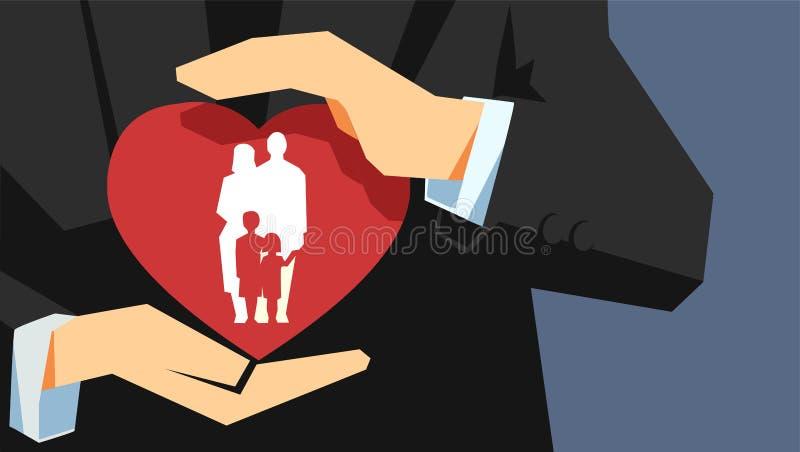 Ασφαλιστική έννοια οικογενειακής ζωής Δύο χέρια που κρατούν την προστασία της καρδιάς με την οικογένεια μέσα ελεύθερη απεικόνιση δικαιώματος