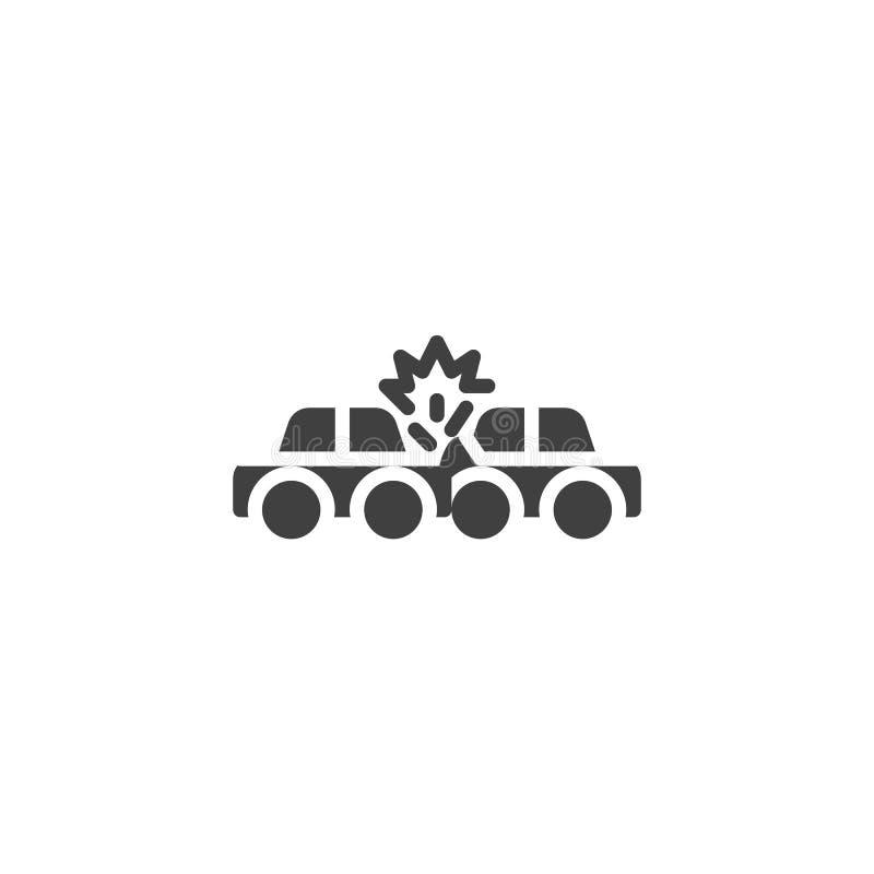 Ασφαλιστικό διανυσματικό εικονίδιο τροχαίου ατυχήματος διανυσματική απεικόνιση