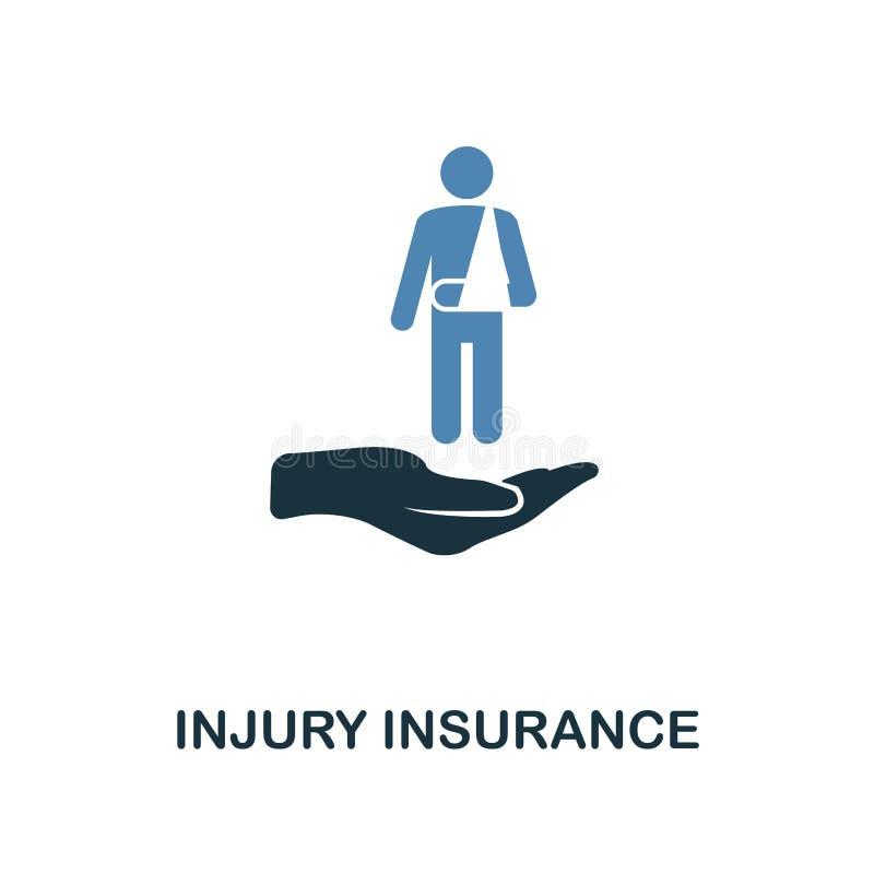 Ασφαλιστικό εικονίδιο τραυματισμών στο σχέδιο δύο χρώματος Εικονίδιο ύφους γραμμών από τη συλλογή ασφαλιστικών εικονιδίων UI και  απεικόνιση αποθεμάτων