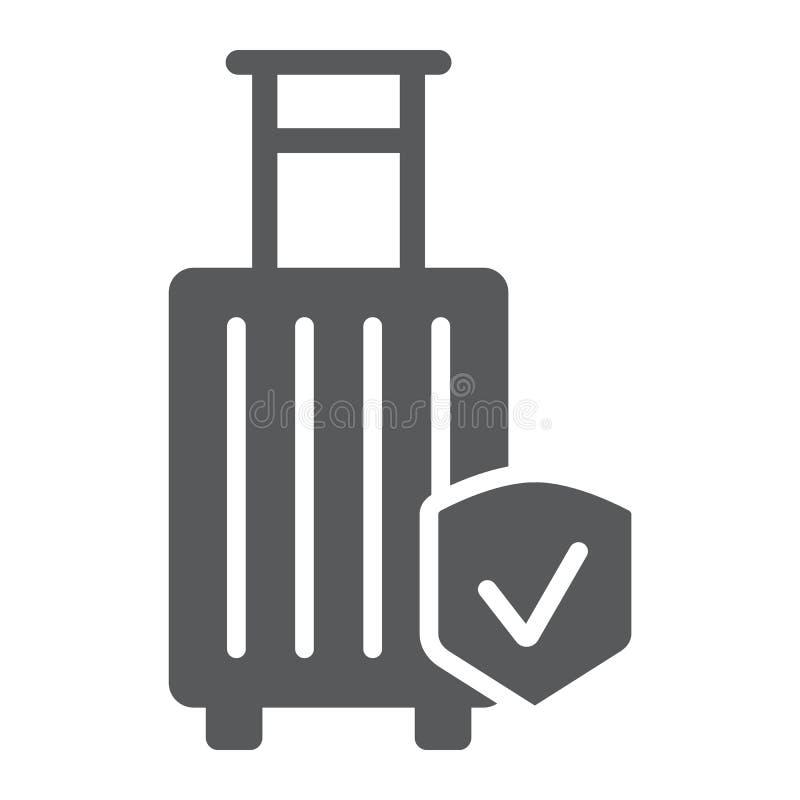 Ασφαλιστικό glyph εικονίδιο αποσκευών, προστασία και αποσκευές, σήμανση ασφάλειας ταξιδιού, διανυσματική γραφική παράσταση, ένα σ ελεύθερη απεικόνιση δικαιώματος