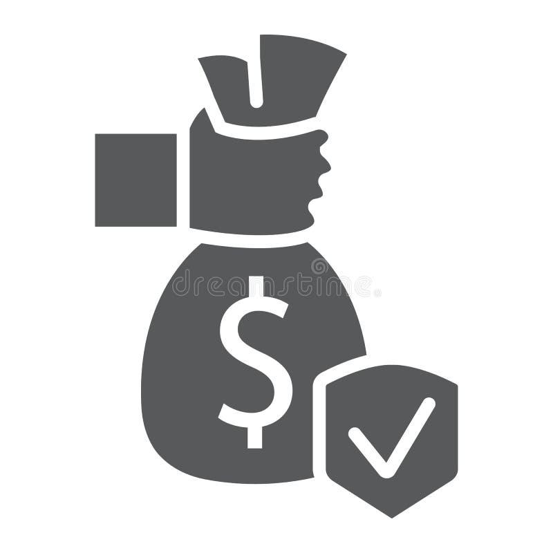 Ασφαλιστικό glyph εικονίδιο επένδυσης, προστασία και χρήματα, σήμανση ασφάλειας χρηματοδότησης, διανυσματική γραφική παράσταση, έ απεικόνιση αποθεμάτων