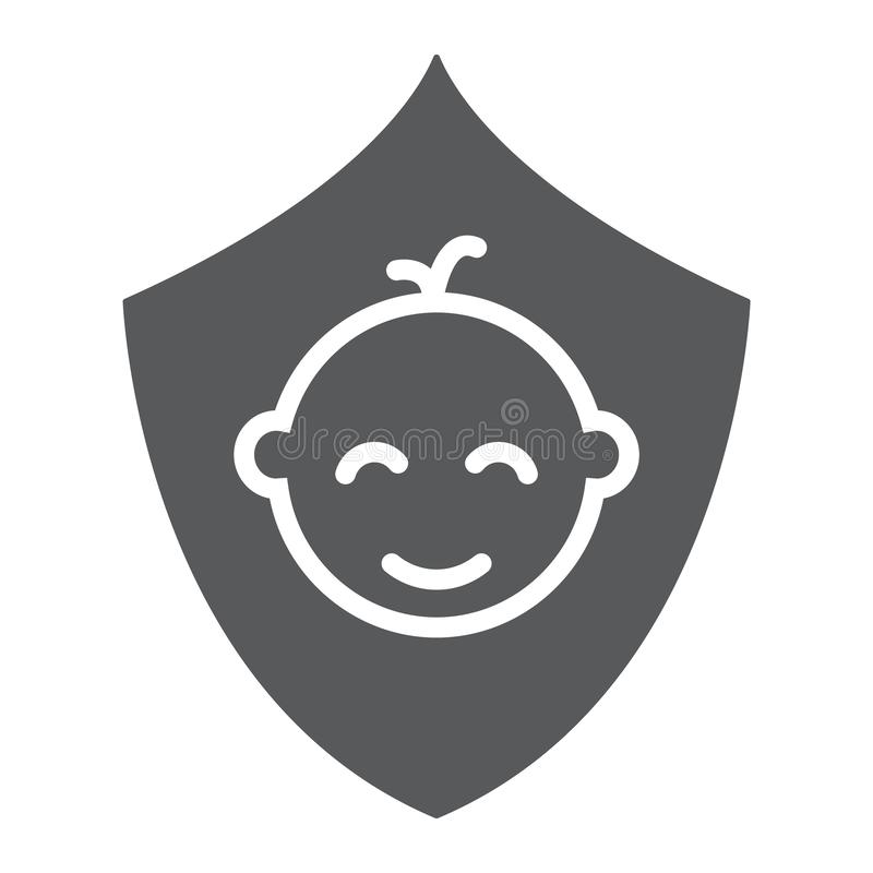 Ασφαλιστικό glyph εικονίδιο παιδιών, παιδιά και προσοχή, σημάδι οικογενειακής ασφάλειας, διανυσματική γραφική παράσταση, ένα στερ απεικόνιση αποθεμάτων