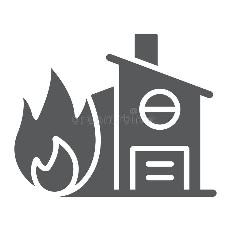 Ασφαλιστικό glyph εικονίδιο πυρκαγιάς, προστασία και σπίτι, σπίτι στο σημάδι πυρκαγιάς, διανυσματική γραφική παράσταση, ένα στερε ελεύθερη απεικόνιση δικαιώματος