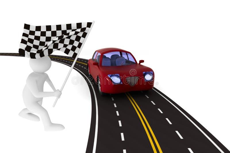 Ασφαλτωμένος δρόμος στο άσπρο υπόβαθρο Απομονωμένη τρισδιάστατη απεικόνιση διανυσματική απεικόνιση